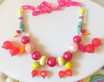 Fruit Salad Necklace, Retro Style Fruit, Vintage Fruit Necklace, Cherry Necklace, Pinup Style Necklace, Tiki Style, Rockabilly