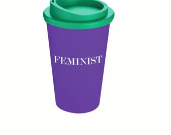 Feminist Travel Mug, Reuseable Cup with Lid, Suffragette Purple, White & Green, Takeaway Coffee Feminism Gift Protest Political Slogan