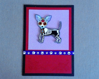 Handmade Fabric Day of the Dead Standing Chihuahua Skeleton Halloween Card