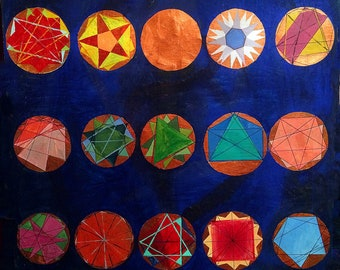 Zodiac - original astrology sacred geometry large painting mixed media oil on canvas
