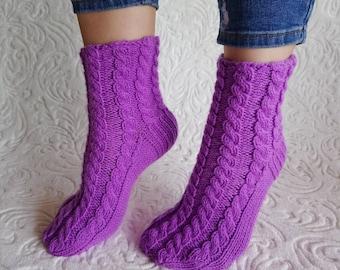 Purple womens bed socks, knit womens socks, cable knit socks, hand knit socks, knit bed socks, slipper socks, purple socks, soft womens sock