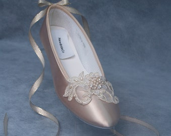 Champagne Wedding Flats  Gold lace applique, Satin Ballet Style Slippers,Lace Up Ribbon, Romantic, Old Hollywood Glamour, Great Gatsby Style