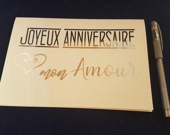 Carte d'anniversaire , Joyeux Anniversaire, Mon Amour, Carte feuille de métal,