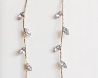 Crystal Drop Earrings, Gold Earrings