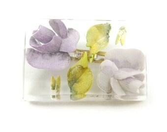 Vintage Clear Lucite Brooch, Purple Flowers, U67