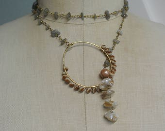 labradorite Lariat Necklace, Wear multiple ways, Delicate 14K Plated Circle and Rosary Chip Chain,Great Gift,One of a Kind By UPcycled Works