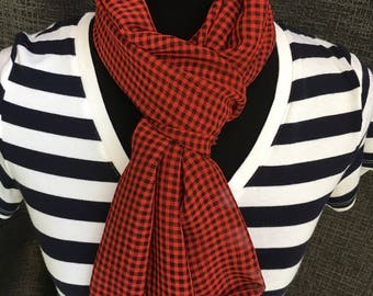 Plaid Scarf, Checkered Scarf, Plaid Infinity Scarf, Circle Scarf, USA Scarf, Checked Scarf,  Red Scarf, Mother's Day Gift, Woman Gift, Cowl