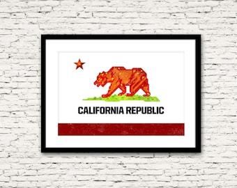 "California Republic Flag ""Monarch"" Poster Print 16x24"