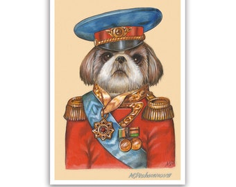 Shih Tzu Art Print - the Officer - Military Dog Prints - Dog Art - Dogs in Clothes - Pet Kingdom by Maria Pishvanova