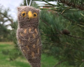 Two Needle Felted Owl Ornaments