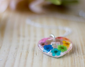 Real Flower Necklace - Rainbow Blossoms - Botanical Jewellery , Pressed Flower Necklace , Resin Necklace , Resin Jewelry , Gifts for Her