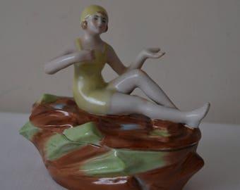 German Bisque Art Deco Bathing Beauty Trinket/Powder Pot - Lemon Swimsuit