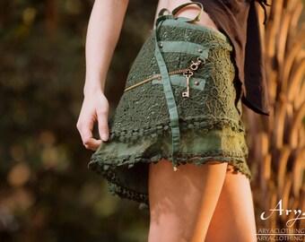 Flower of Life Crochet Skirt (Green) - Festival Clothing Boho Gypsy Goa Lace and Crochet Layer Midi Skirt with Pocket Bohemian