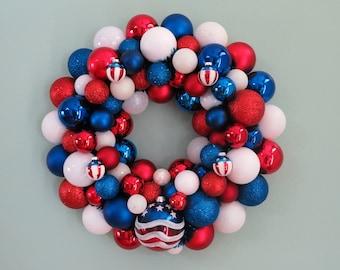 Patriotic Wreath Ornament WREATH USA Red White Blue PATRIOTIC Ornament Wreath