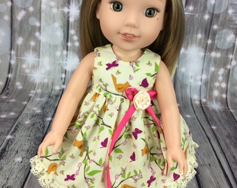 Dress fits Wellie Wishers size doll clothes -  Little Birdie doll dress