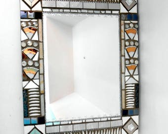 "Mosaic mirror ""snow"" 45 x 58 cm"