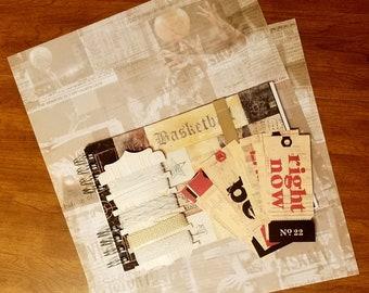 Basketball Sport Album Photo Scrapbook Kit / Karen Foster / 7 Gypsies/ Book  / Ribbon / Manila Tags / Collage Paper