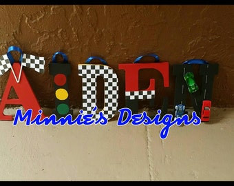 Race car themed Name decor, Race car decorations,Disney Cars letters,Cars Name letters, McQueen birthday,Race car birthday,Race car invites