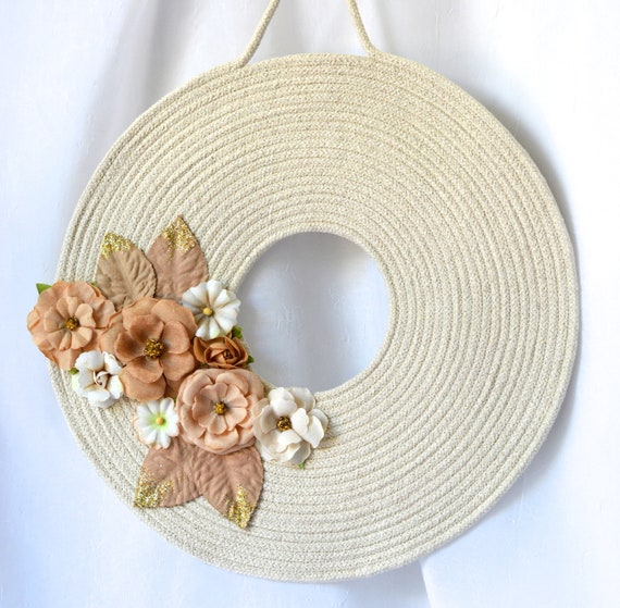 Rope Coiled Wreath, Summer Door Hanger, Lovely Wall Art, Primitive Quilted Wreath, Handmade Floral Home Decor, Modern