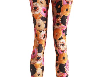 Fast food heaven donut party doughnut leggings spandex Leggings | printed leggings | donut leggings donut pants foodie gift