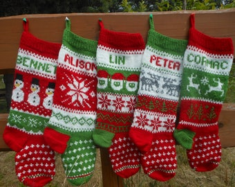 Set of 5 Personalized Christmas Stockings Hand Knitted  Christmas Gift Christmas Decoration