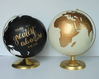 """Custom Wedding Globe – Perfect for Wedding Guestbook or Centerpiece – Hand Painted – 12"""" Diameter – Travel, Boho Chic, Guestbook Alternative"""