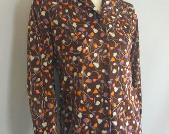 Vintage Women's 70's Floral Blouse, Brown, Polyester, Long Sleeve by Graff (M)