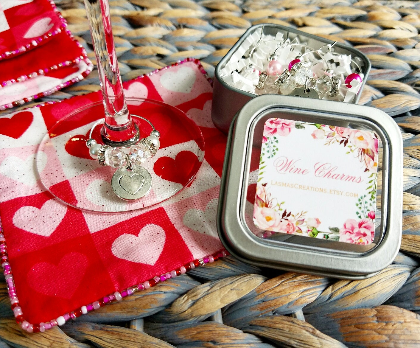 Bride to Be Gift 4 Heart Wine Charms 4 Pink Fabric