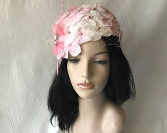Blush light pink vintage style church hat with long feather quill veiling for church, tea Parties,wedding, derby races hat,special occasions