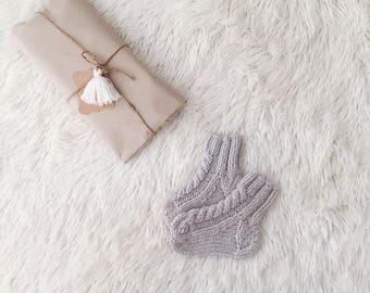 Newborn wool socks Light grey hand knit socks merino wool kids toddler newborn baby socks newborn outfit baby boys girls toddler kids gift