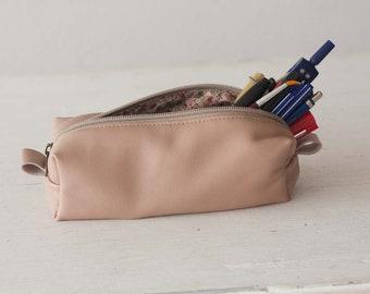 Nude beige leather pencils case, rectangular accessory bag purse case glasses markers zipper pouch - The Rec pencil case