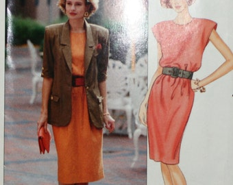 Butterick 4701 Leslie Fay Misses Dress and Jacket Vintage Sewing Pattern New/Uncut Size 14,16,18