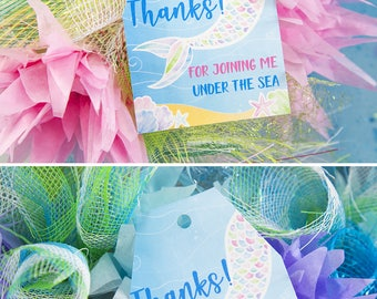Mermaid Favor Tags, Mermaid Thank You Tags, Mermaid Party Printables, Under the Sea Printables, Party Supply, Mermaid Tail, INSTANT DOWNLOAD