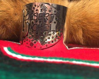 Desert Child Cactus Silvertone Cuff Bracelet