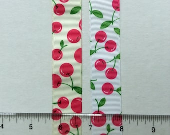"""Cherries in Pink on white and off-whiteGrosgrain Ribbon 1"""""""
