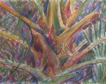Palm II-Large Original Pastel Drawing by Emily Cheek