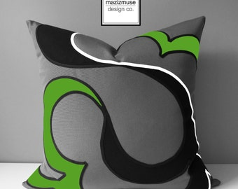 Decorative Lime Green & Grey Outdoor Pillow Cover, Modern Abstract Pillow Case, Gray Black White, Macaw Sunbrella Cushion Cover, Mazizmuse