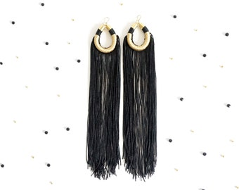 Extra long black and gold fringe earrings for her ultimate boho chic style, black tassel statement earrings for Coachella Fashion / LAILA