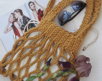 Cotton cord crochet string bag