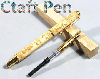 Handcraft Wood Pen With a Ballpoint Refill & a fountain pen refill-Rosewood-Gift FOR Men/Women/Students-Writing Pen
