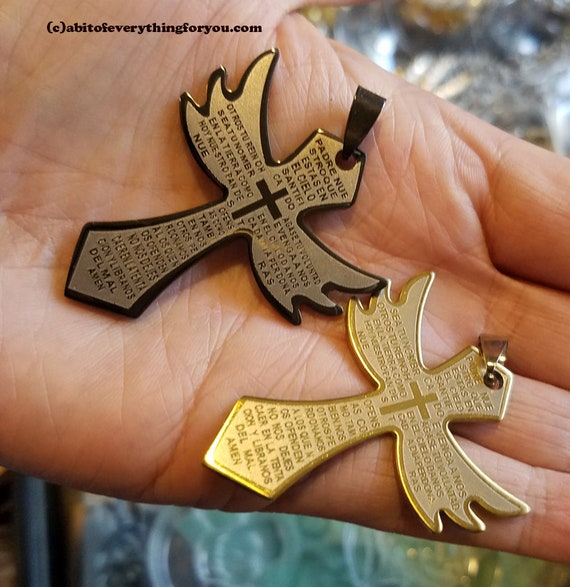 lords prayer 2 stainless steel cross pendants angel wing charms 30-50mm black gold unisex spanish mexican jewelry