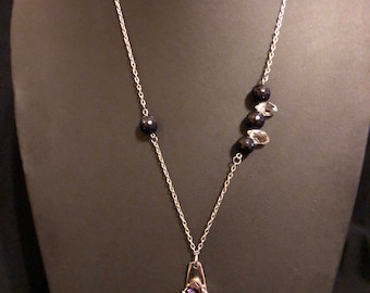 Amethyst spoon handle necklace with blue sunstone beads