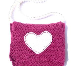 Hand bag, purple and cream, big