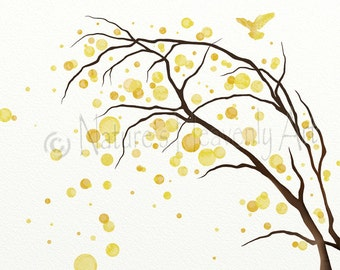 8 x 10 Canary Yellow Wall Art Print, Home Decor, Bare Tree Art Print, Living Room Decor, Yellow Wall Decor for Office  (390)