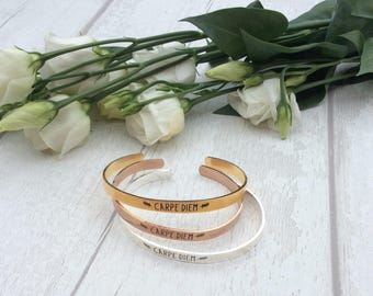 Carpe Diem Copper Bangle