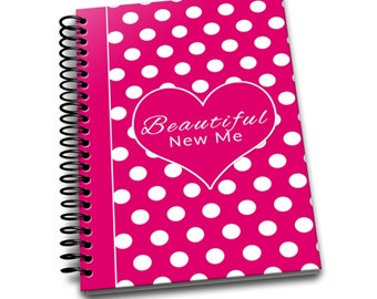 Beautiful New Me | Daily Food & Exercise Journal | 90 Days Meal and Activity Tracker | Become Beautiful | 6 x 9 | Food Journal | Pink Polka