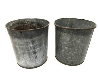 Sap Bucket - Vintage Galvanized Metal Sap Bucket - RI Sap Bucket - Sap Bucket - Farmhouse Decor - Galvanized Planter - Repurpose Bucket