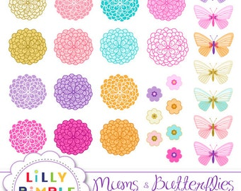 Mums and Butterflies clipart Chrysanthemum clip art, flowers, PNGS, commercial Use Instant Download