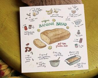 Vegan Banana Bread Recipe - art print