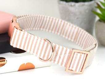 Rose Gold Dog Collar - Metallic Rose Gold and White Striped Cotton Fabric Dog Collar - Fashion Dog Collar - Rose Gold Metal Hardware